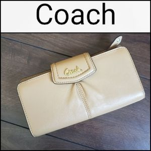 NEW OR LIKE NEW! COACH Tan Leather Bi-fold…